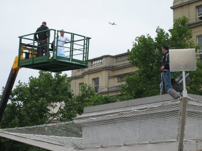 Chris Billington, Cornwall's modern artist arriving by hoist, Antony Gormley's Fourth Plinth,Trafalgar Square, London