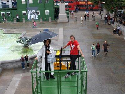 Fourth Plinth, the next participant arrives in the rain, Trafalgar Square, London
